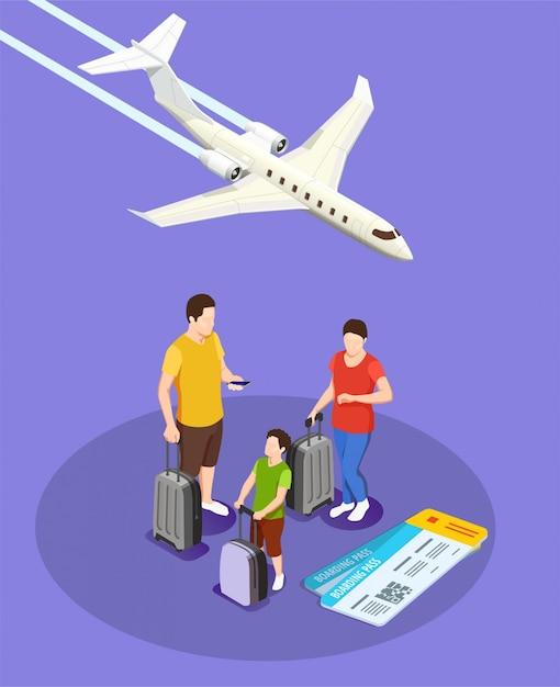 Reisende leute mit gepäck und bordkarten isometrische zusammensetzung mit flugzeug auf veilchen Kostenlosen Vektoren