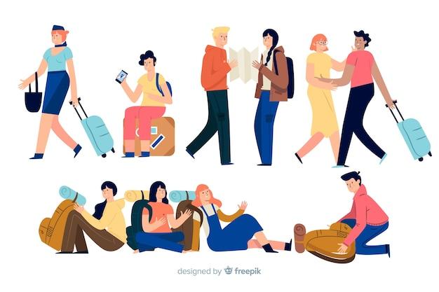 Reisende machen verschiedene aktionen Kostenlosen Vektoren