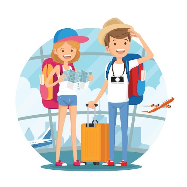 Reisende paare von jungen leuten Premium Vektoren