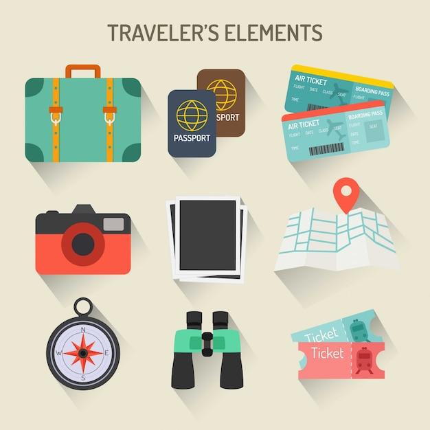 Reisenden elements collection Kostenlosen Vektoren