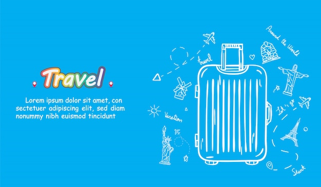 Reisender des gekritzelhandabgehobenen betrages mit gepäck. flugzeug check-in point reisezubehör auf der ganzen welt. Premium Vektoren