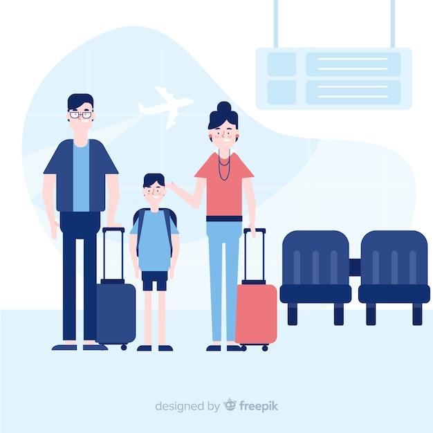 Reisender hintergrund der familie Kostenlosen Vektoren