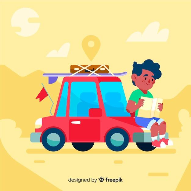 Reisender junge mit einem auto Kostenlosen Vektoren