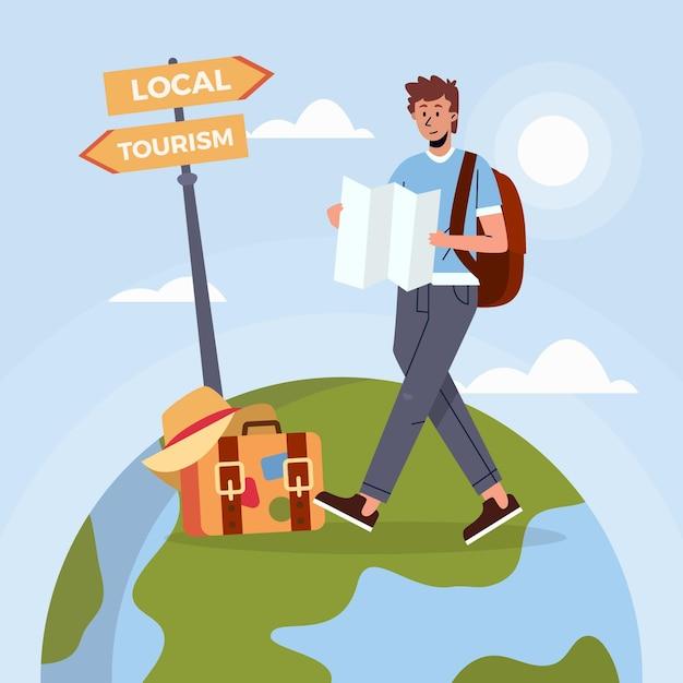 Reisender mann mit karte Premium Vektoren
