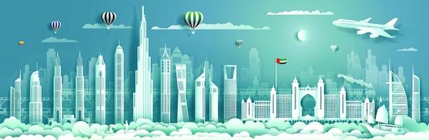 Reisendes uae mit modernem gebäude, skylinen, wolkenkratzer. Premium Vektoren