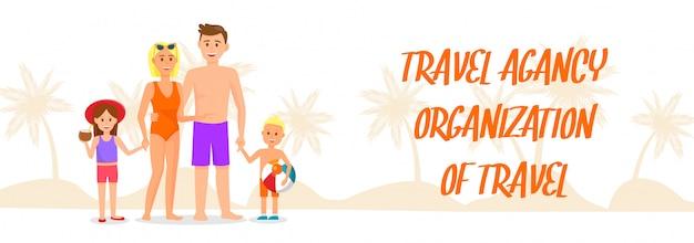 Reiseorganisation-vektor-fahne mit beschriftung. Premium Vektoren