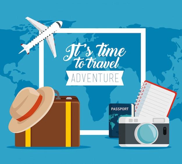 Reisepass mit kamera und gepäck in den urlaub Kostenlosen Vektoren