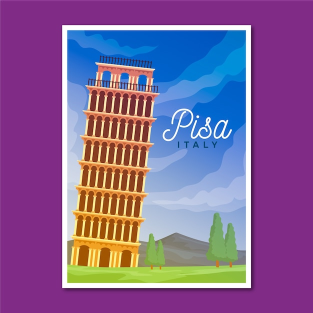 Reiseplakat mit pisa illustriert Kostenlosen Vektoren