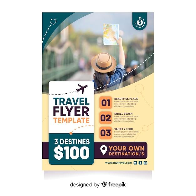 Reiseplakatvorlage mit foto Kostenlosen Vektoren