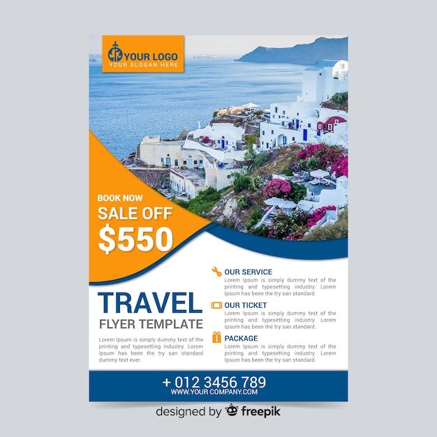 Reiseplakatvorlage mit rabatt Kostenlosen Vektoren