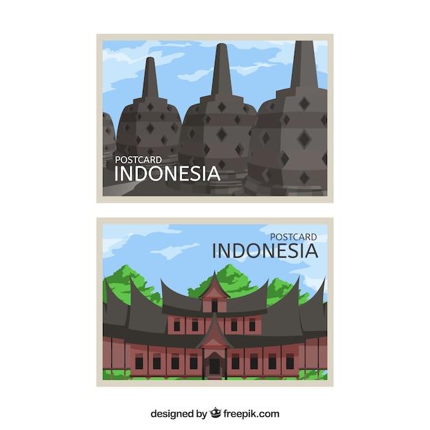 Reisepostkarte mit indonesischer architektur Premium Vektoren