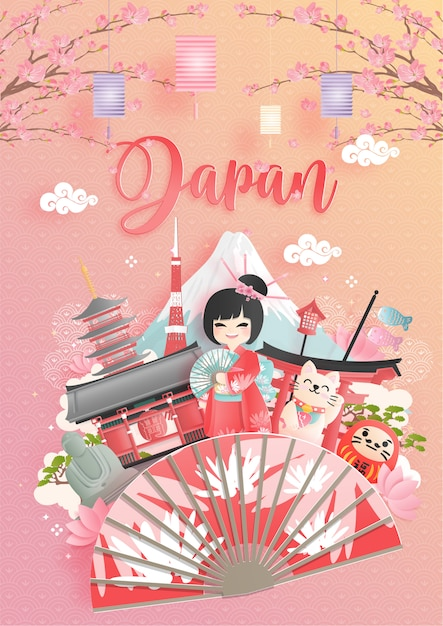 Reisepostkarte, plakat, tour-werbung für weltberühmte wahrzeichen japans Premium Vektoren