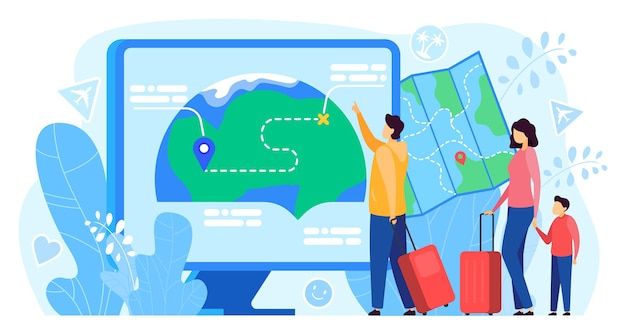 Reiserouten-app-vektorillustration. cartoon flat traveller touristen familienangehörige mit kartenanwendung auf computerbildschirm, für pin-position, navigation und routing Premium Vektoren