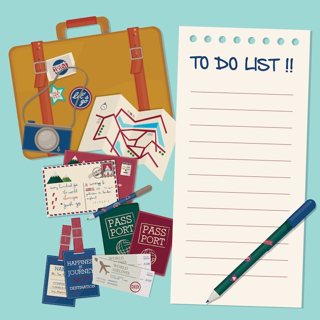 Reisesache. reise-vorlage. Premium Vektoren