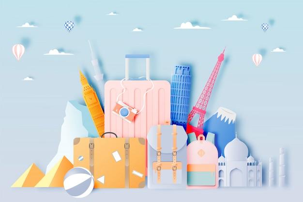 Reisetasche und gepäck im papierkunststil Premium Vektoren