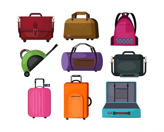 Reisetaschen eingestellt Kostenlosen Vektoren