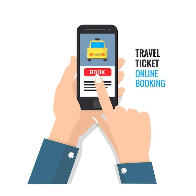 Reiseticket online-buchungs-design für handy Premium Vektoren