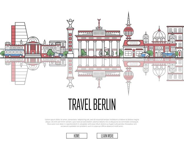 Reisetour nach berlin web template im linearen stil Premium Vektoren