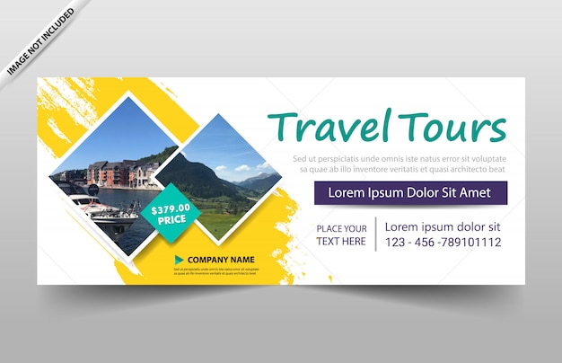 Reisetour-unternehmensgeschäfts-fahnenschablone Premium Vektoren