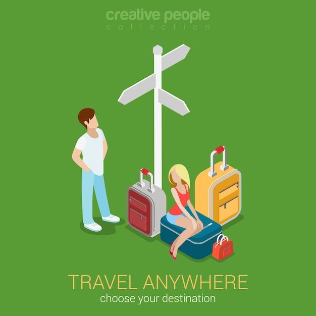 Reisetourismus 3ziele flache 3d-web Kostenlosen Vektoren