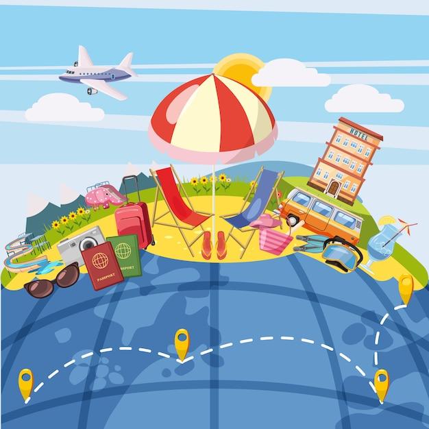 Reisetourismuskonzept global. hintergrund Premium Vektoren
