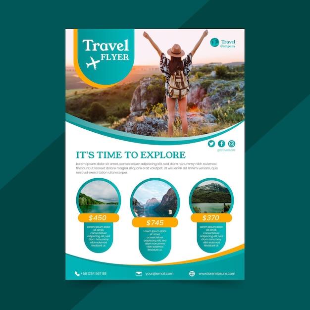 Reiseverkauf flyer konzept Premium Vektoren