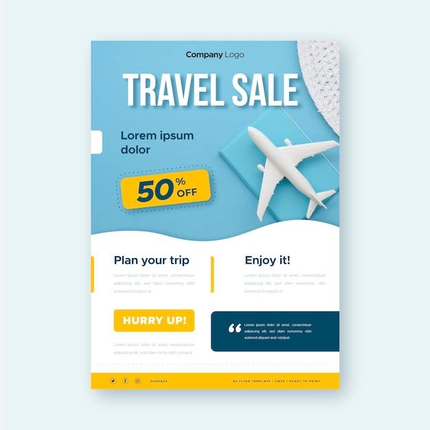 Reiseverkauf flyer mit bild Kostenlosen Vektoren