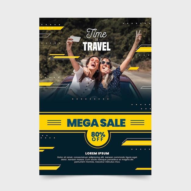 Reiseverkauf flyer mit foto Premium Vektoren
