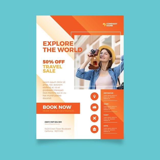 Reiseverkauf flyer mit foto Kostenlosen Vektoren
