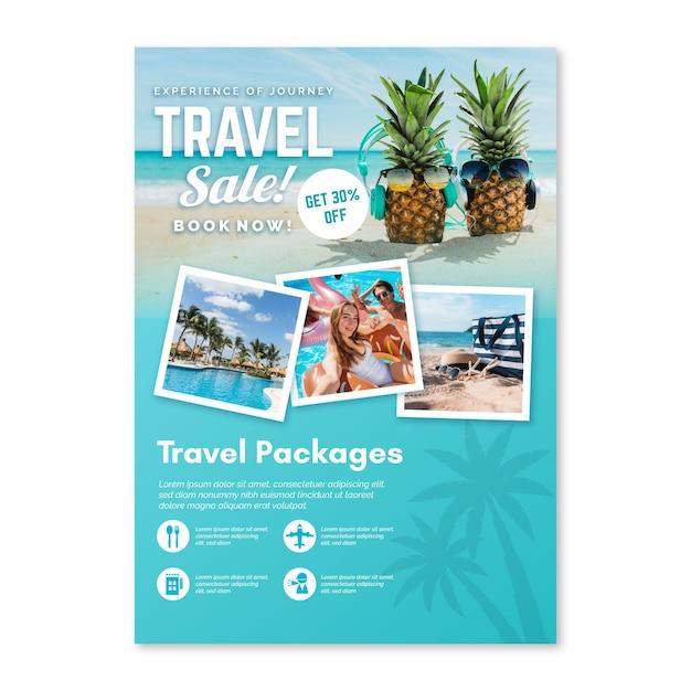 Reiseverkauf flyer mit fotos Kostenlosen Vektoren