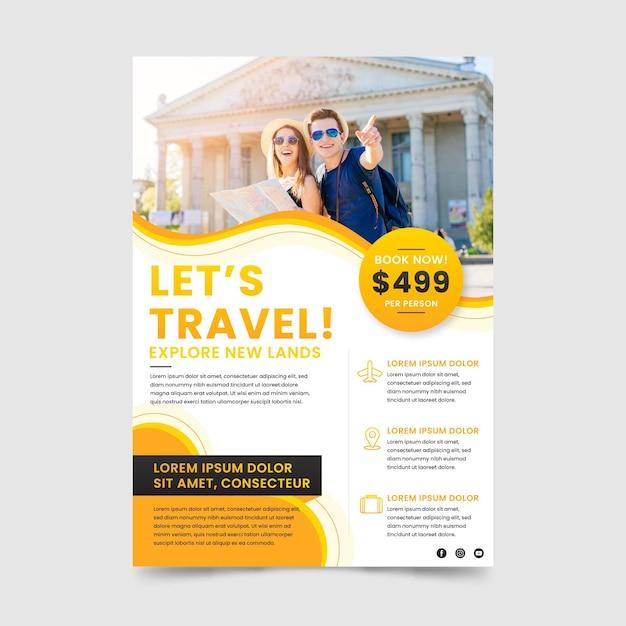 Reiseverkauf flyer vorlage mit foto Premium Vektoren