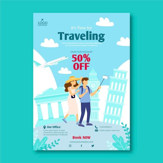 Reiseverkauf illustrierter flyer Kostenlosen Vektoren