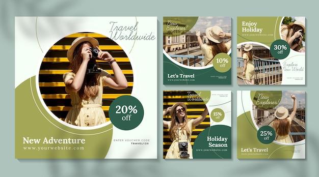 Reiseverkauf instagram beiträge mit fotopaket Kostenlosen Vektoren