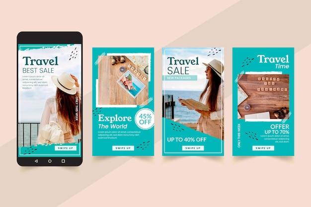 Reiseverkauf instagram geschichten design Premium Vektoren