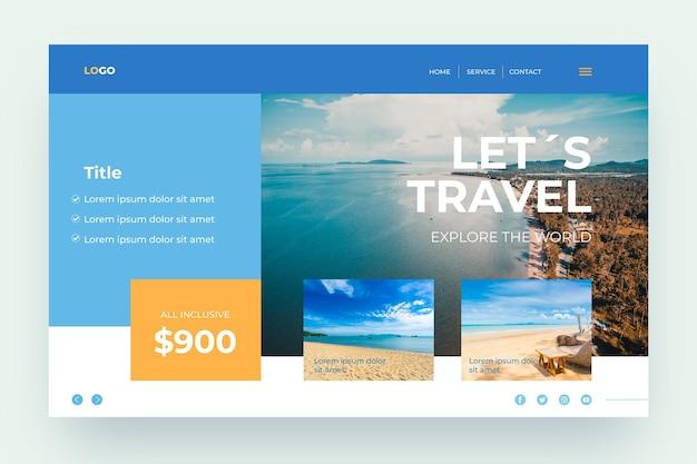Reiseverkauf mit foto-landingpage Kostenlosen Vektoren