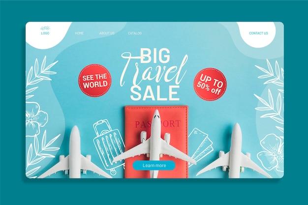 Reiseverkauf webseitenvorlage mit foto von flugzeugen Kostenlosen Vektoren