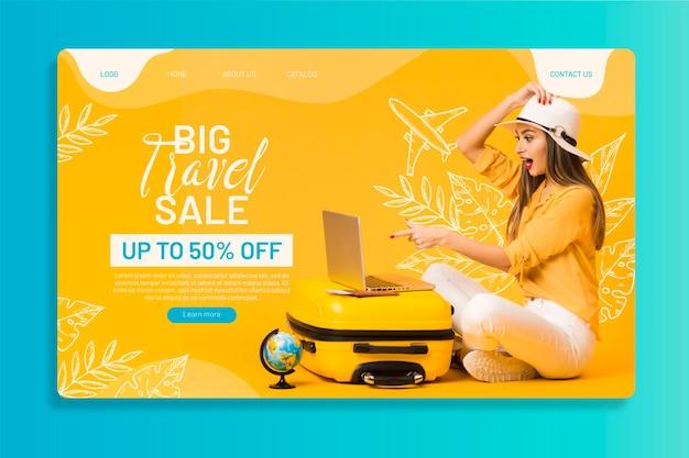 Reiseverkauf webseitenvorlage mit foto Kostenlosen Vektoren