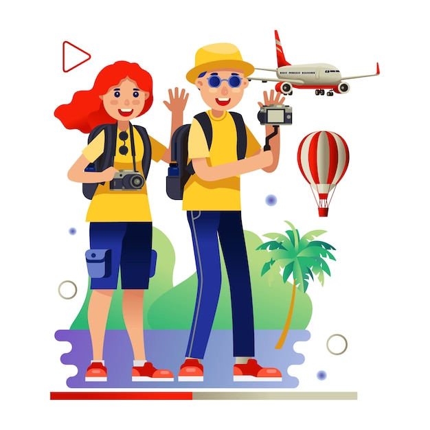 Reisevideo blogger tourismus Premium Vektoren