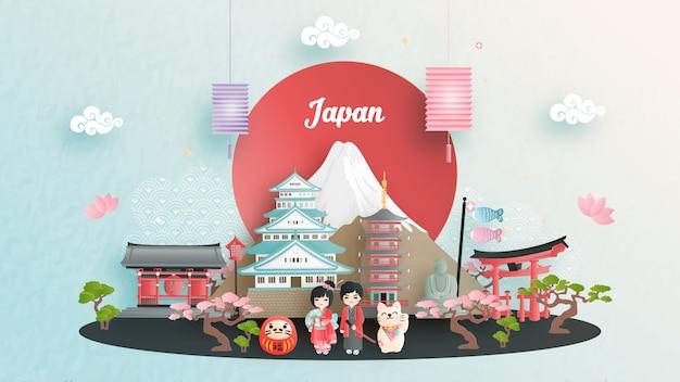 Reisewerbung mit reise nach japan-konzept mit japanischem berühmtem markstein Premium Vektoren