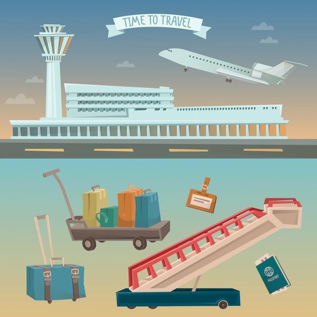 Reisezeit mit dem flugzeug Premium Vektoren