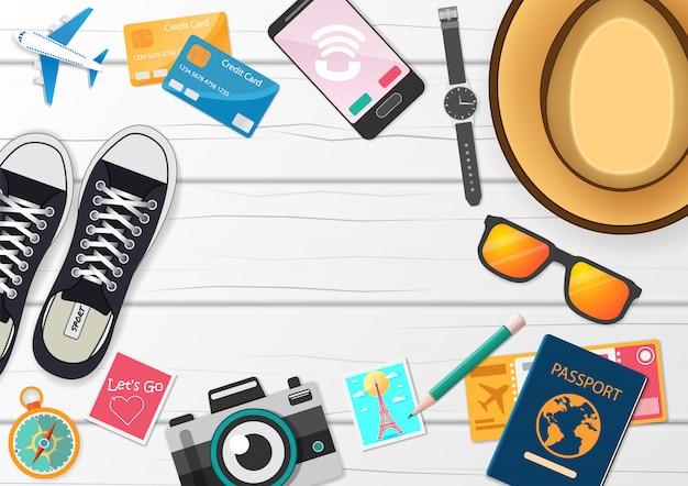 Reisezubehör rund um die welt Premium Vektoren