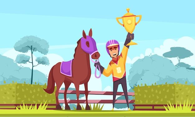 Reitersieger mit goldenem pokal Kostenlosen Vektoren