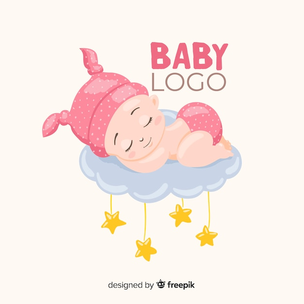 Reizende babyshop-logoschablone mit moderner art Kostenlosen Vektoren