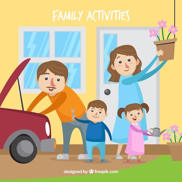Reizende familie, die verschiedene tätigkeiten zu hause tut Kostenlosen Vektoren