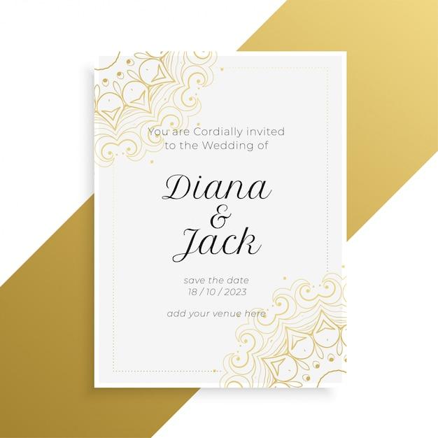 Reizende goldene und weiße hochzeitseinladungskarte Kostenlosen Vektoren