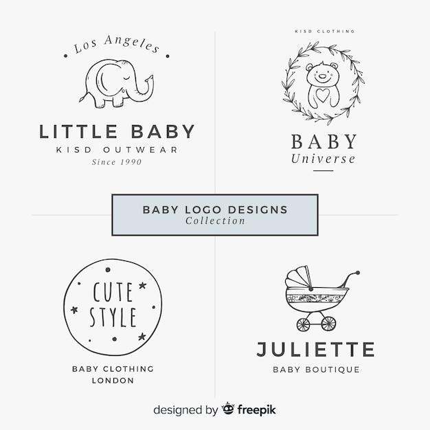 Reizende hand gezeichnete babylogosammlung Kostenlosen Vektoren