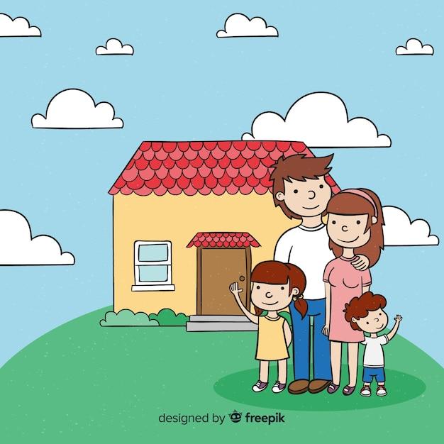 Reizende hand gezeichnete familie zu hause Kostenlosen Vektoren
