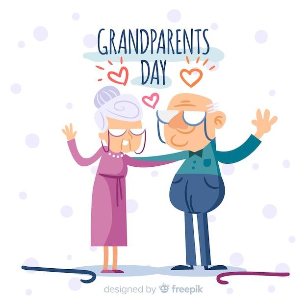 Reizende hand gezeichnete großeltern tageszusammensetzung Kostenlosen Vektoren