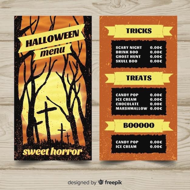Reizende hand gezeichnete halloween-menüschablone Kostenlosen Vektoren