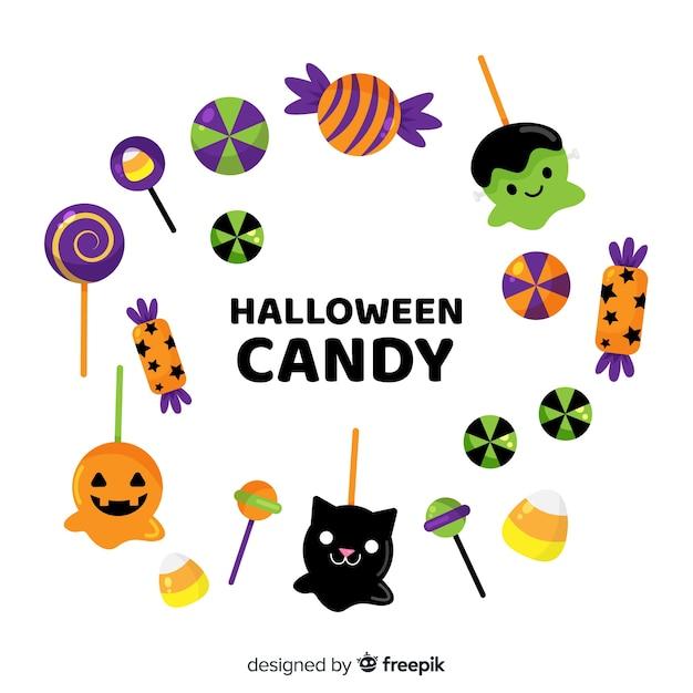 Reizende hand gezeichnete halloween-süßigkeitsammlung Kostenlosen Vektoren